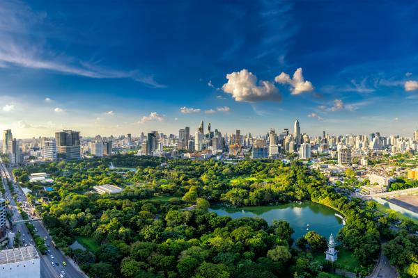 An aerial view of Bangkok, which can be visited with a cheap holiday package from Flight Centre.