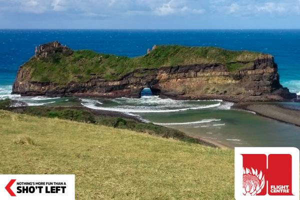 A view of the lush scenery that meets the sea in the Eastern Cape, which can be visited as part of an itinerary of a Homegrown holiday package from Flight Centre.