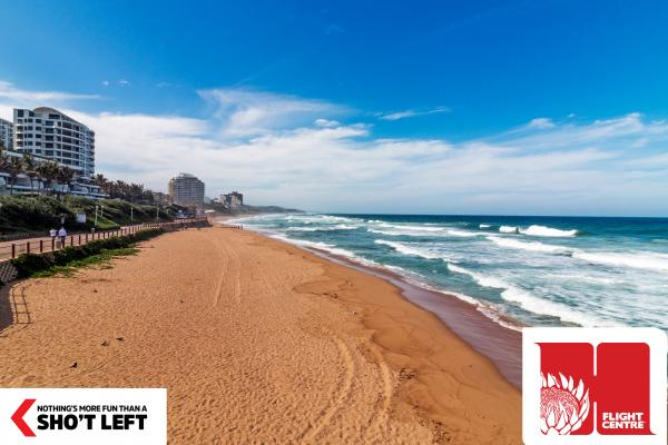 A view of one of the many breathtaking beaches in KwaZulu-Natal and can be experienced with a Homegrown holiday package from Flight Centre.